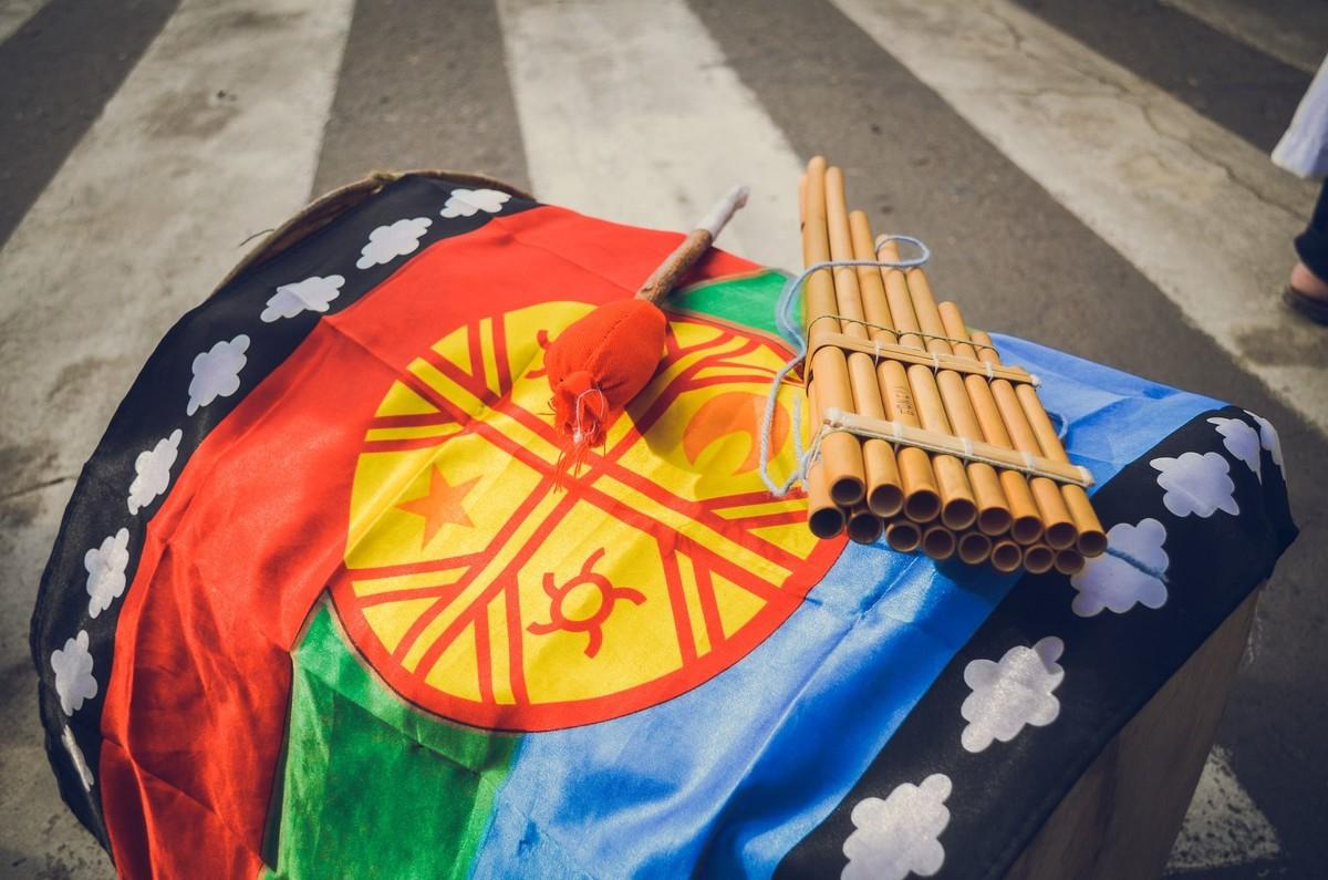 Bolivie Voyage drapeau avec flute