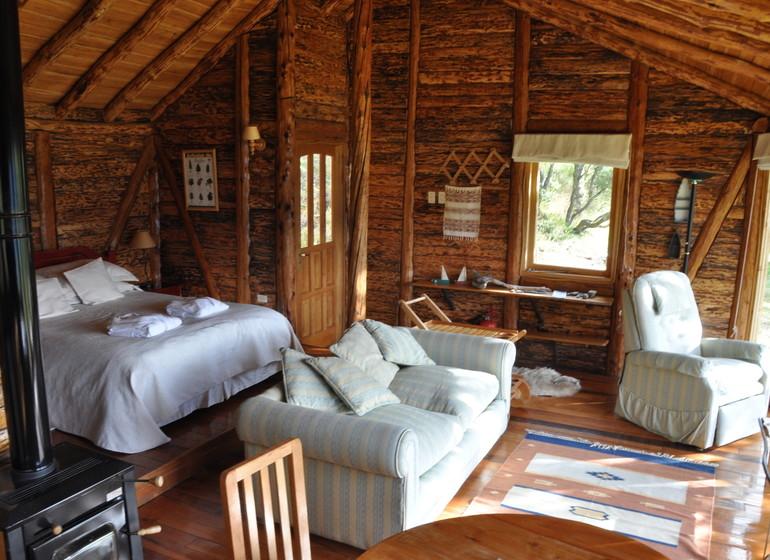 Chili Voyage Carreterra Austral Mallin Colorado bungalow intérieur