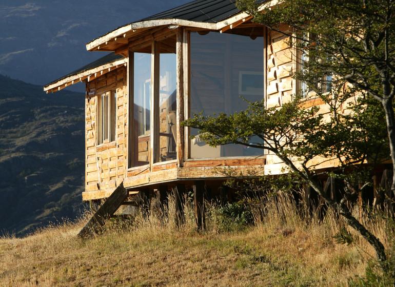 Chili Voyage Carreterra Austral Mallin Colorado bungalow extérieur de près