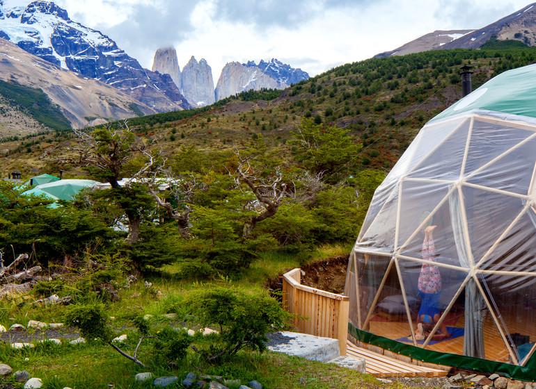 Chili Voyage Torres del Paine Ecocamp dome yoga