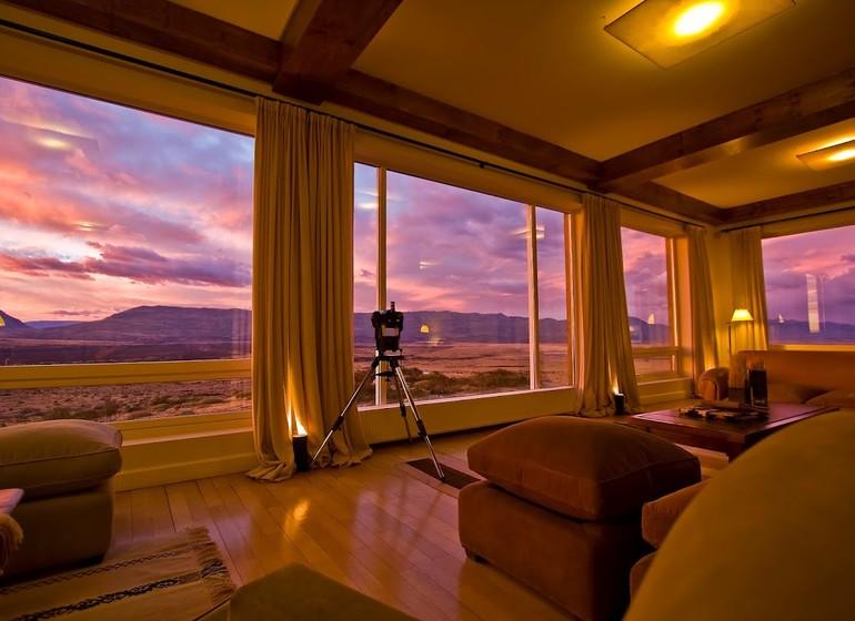 Argentine Patagonie El Calafate Eolo Lodge ciel du soir