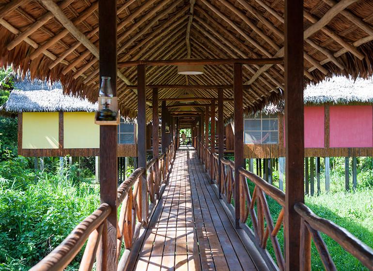 Pérou Voyage Amazonie Nord Heliconia River Lodge passerelles accès bungalows