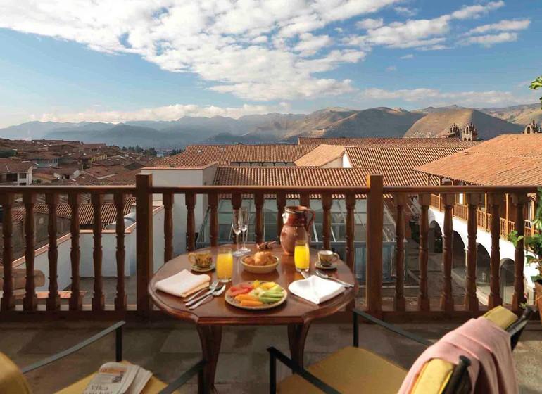 Pérou Voyage Cusco Palacio Nazarenas vue depuis terrasse