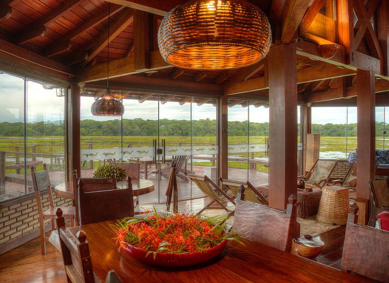 Brésil Voyage Pantanal Caiman Ecolodge Baiazinha Lodge salle à manger avec vue