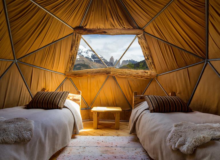 Chili Voyage Torres del Paine Ecocamp intérieur d'un dome