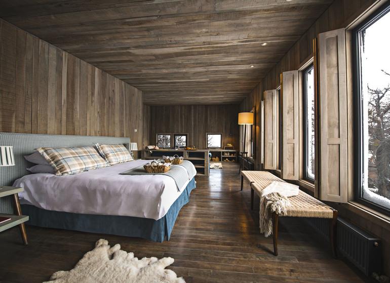 Chili Voyage Awasi Patagonia bungalow chambre à coucher