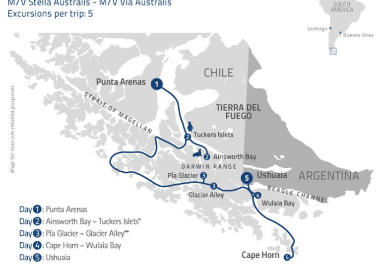 Chili Patagonie Voyage Croisière mapa