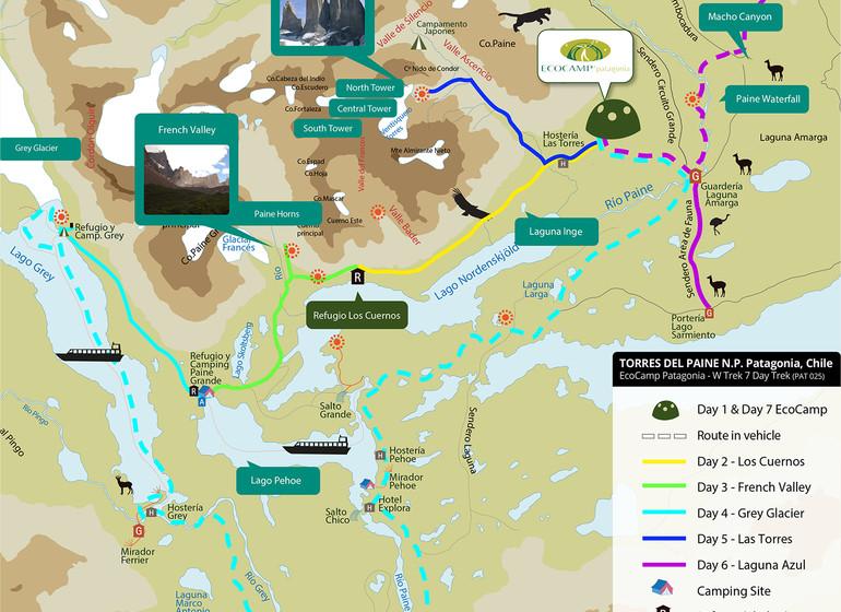 Chili Voyage Paine Trek carte
