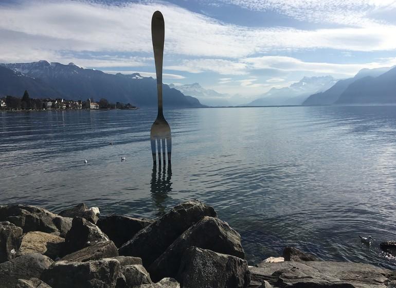 Voyage en Suisse village et canton Montreux et Vevey fourchette lac Leman