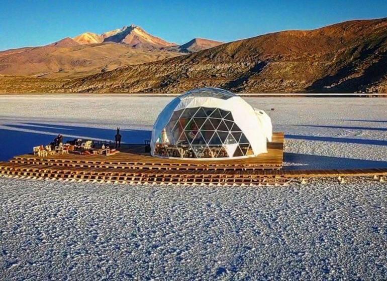 Voyage Bolivie Kachi Lodge dome restaurant et salon